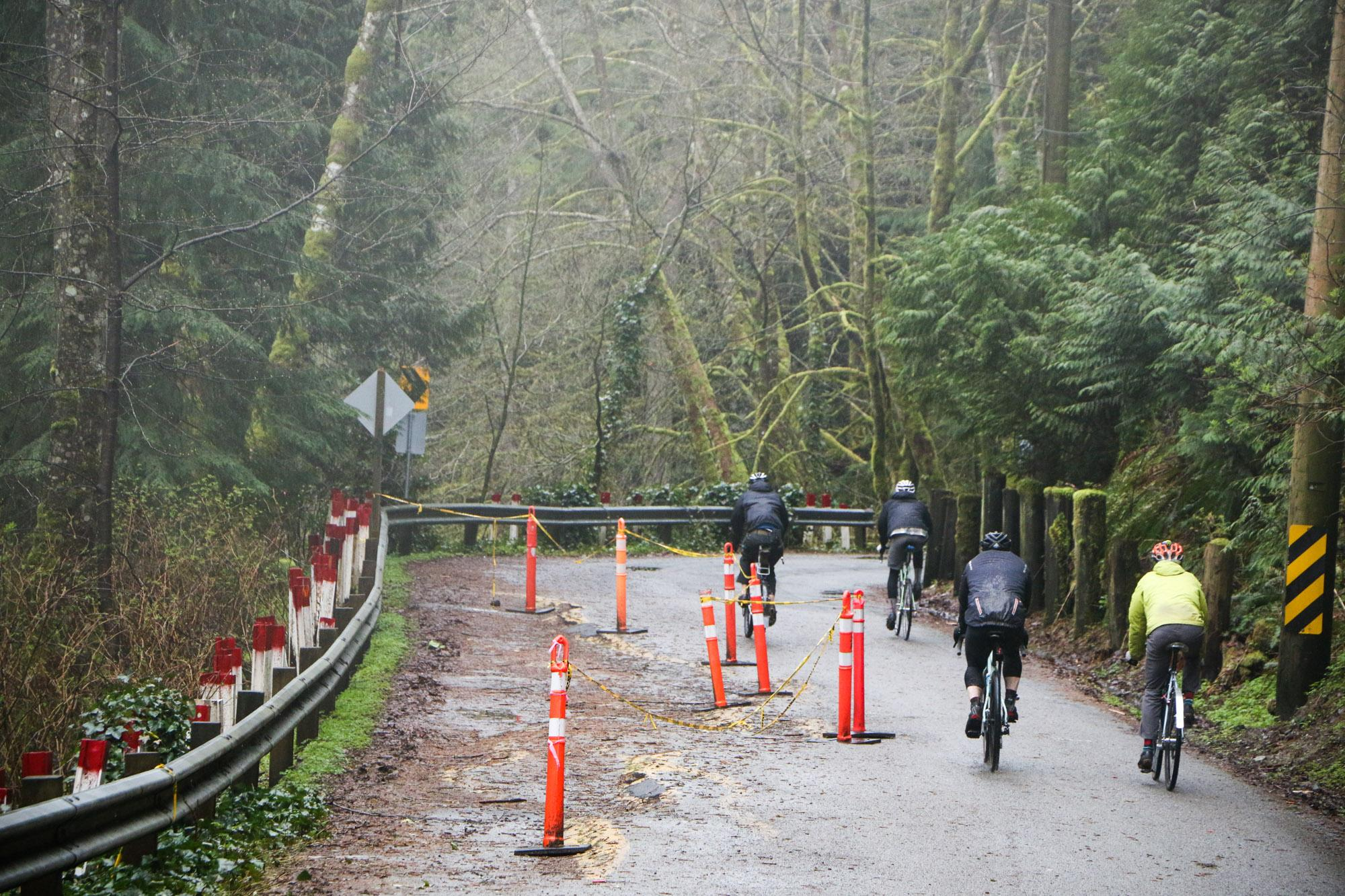 This park access road has been closed to cars because it's crumbling into the valley, which makes it an even nicer ride than it already was!