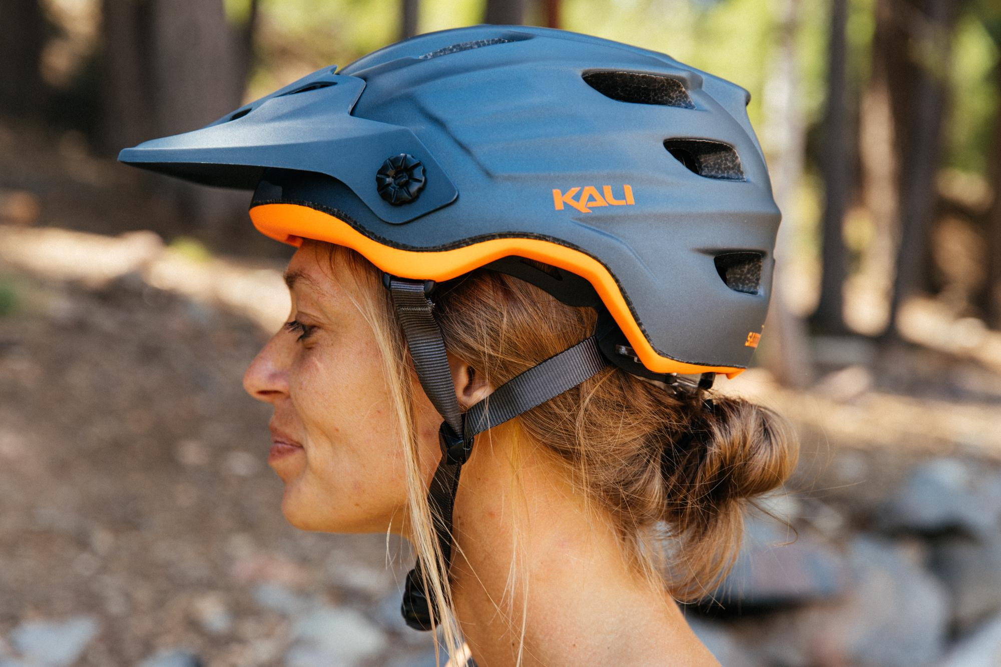 Crystal modeling the Kali Saddle Drive Helmet