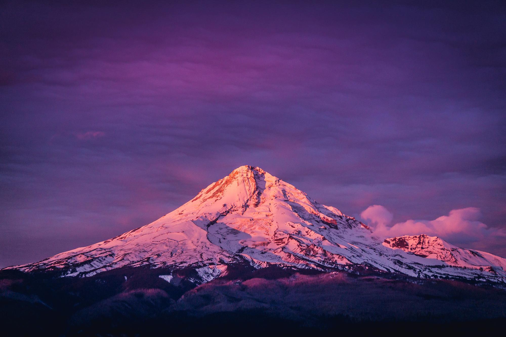 First light on Mount Hood