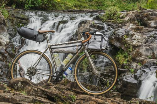 My Ren Cycles titanium Waypoint kitted with Porcelain Rocket and Swift Industries bags.