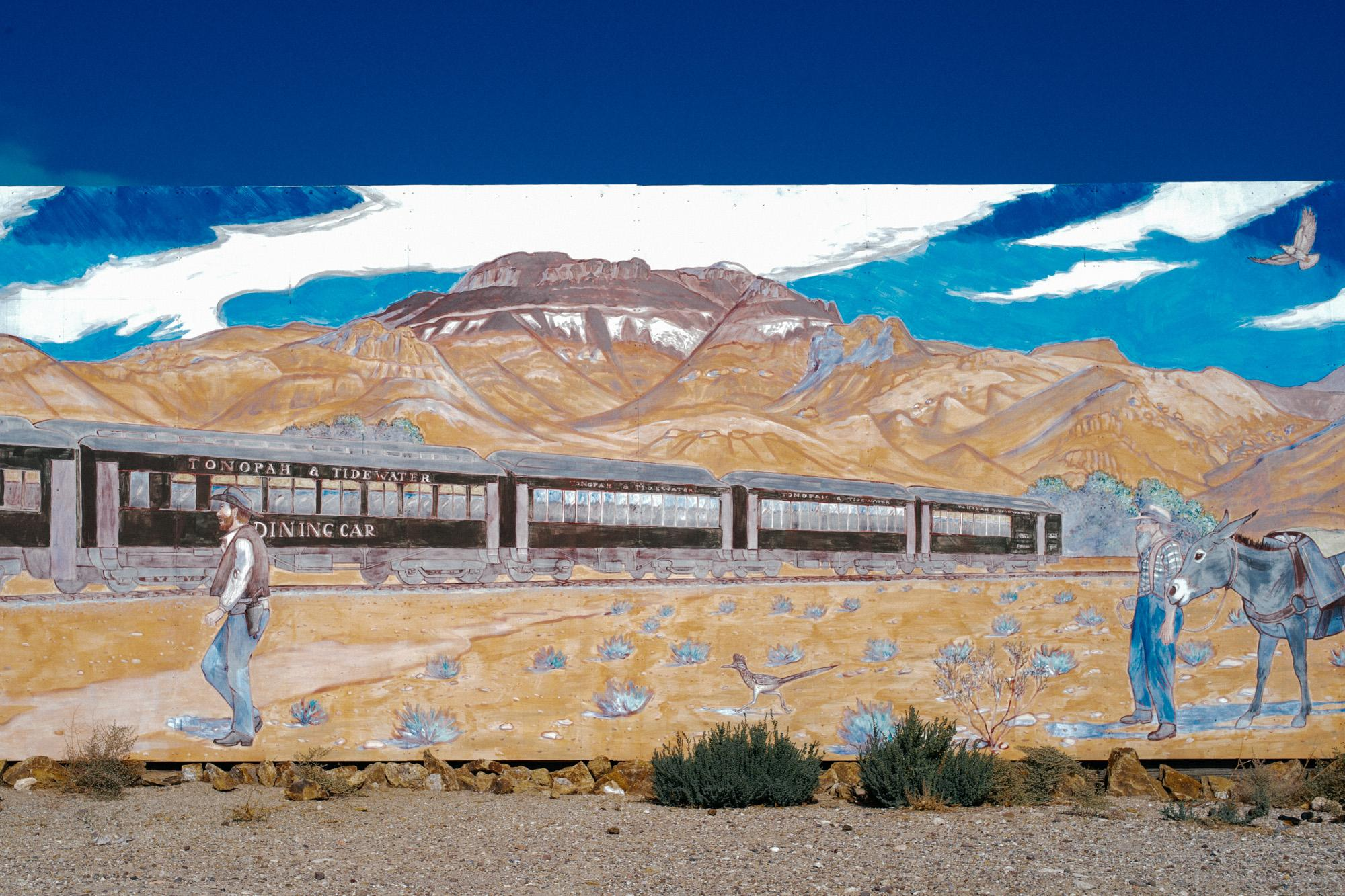 Tonopah Railway mural in Beatty