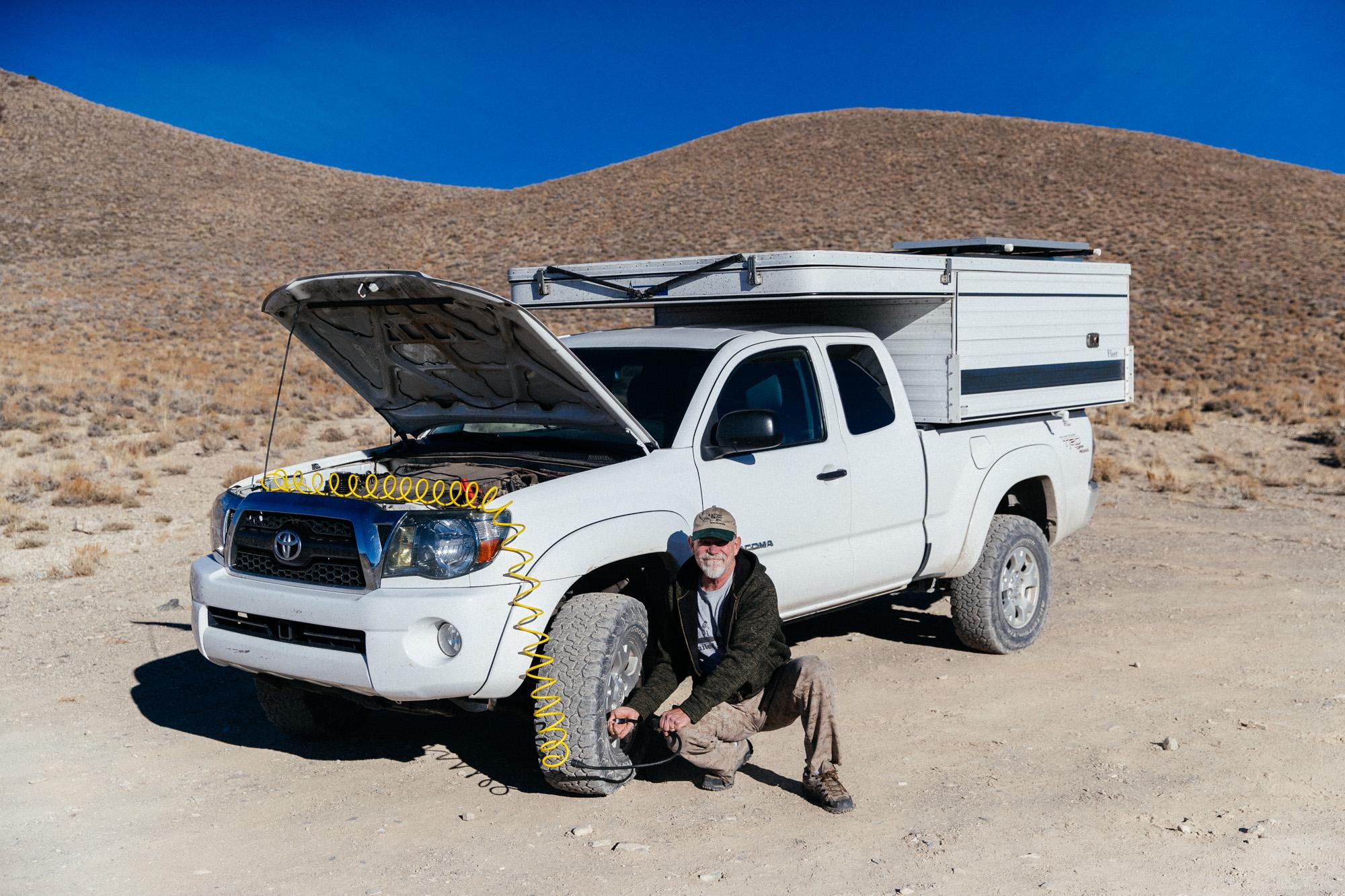 We met Kelly, who was airing up his Tacoma after camping at Saline Warm Springs.