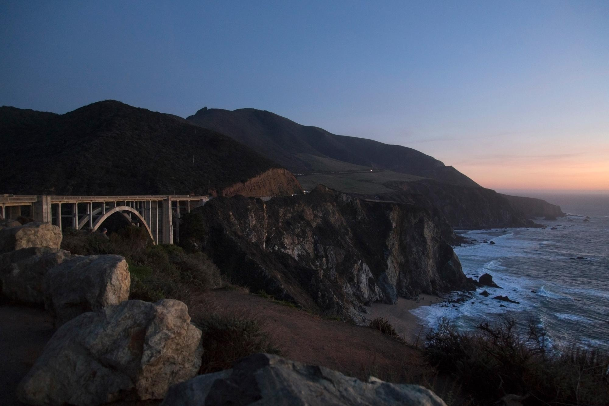 Big Sur at sunset on the first day of riding. (Rugile Kaladyte)