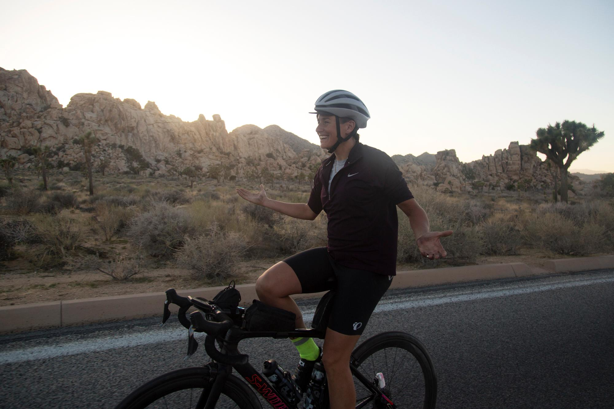 Lael rides in Joshua Tree National Park at sunset. (Rugile Kaladyte)