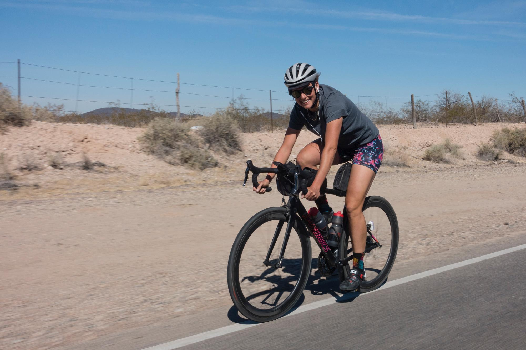Lael in her element, racking up the miles. (Trevor Raab)