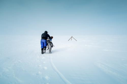 Deep  and wind-drifted snow forces Kim McNett to push her bike over the Seward Peninsula.