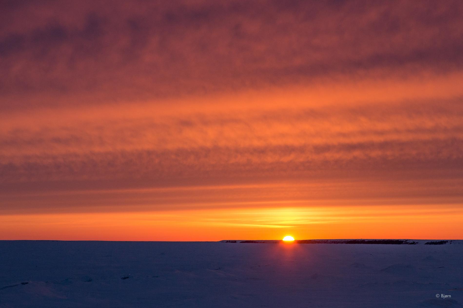 The sun sets over the Baldwin Peninsula - Arctic Alaska.