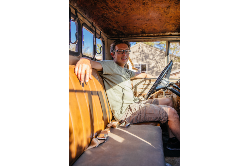 Jeremy inside his 1960's FJ45.