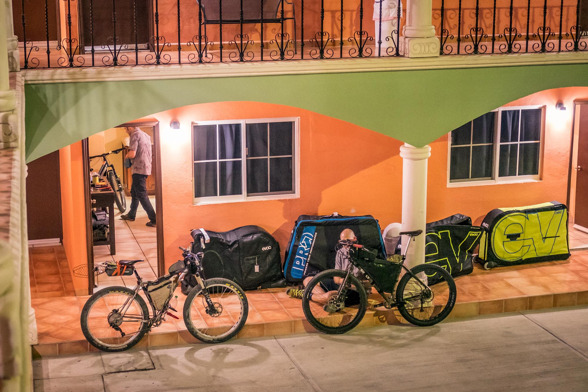 Assembling bikes in the twilight at Hotel Cactus—just a short taxi from the airport in San Jose del Cabo.