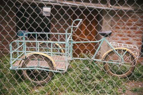 cargo bike with beautiful rebar rack