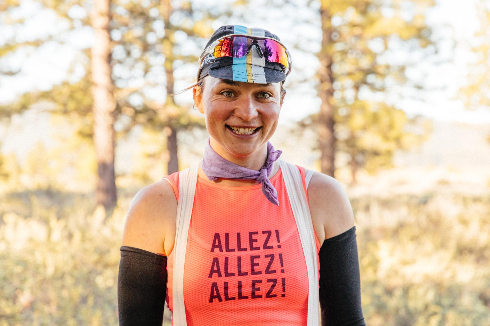 Liz, ready to race 100 miles!
