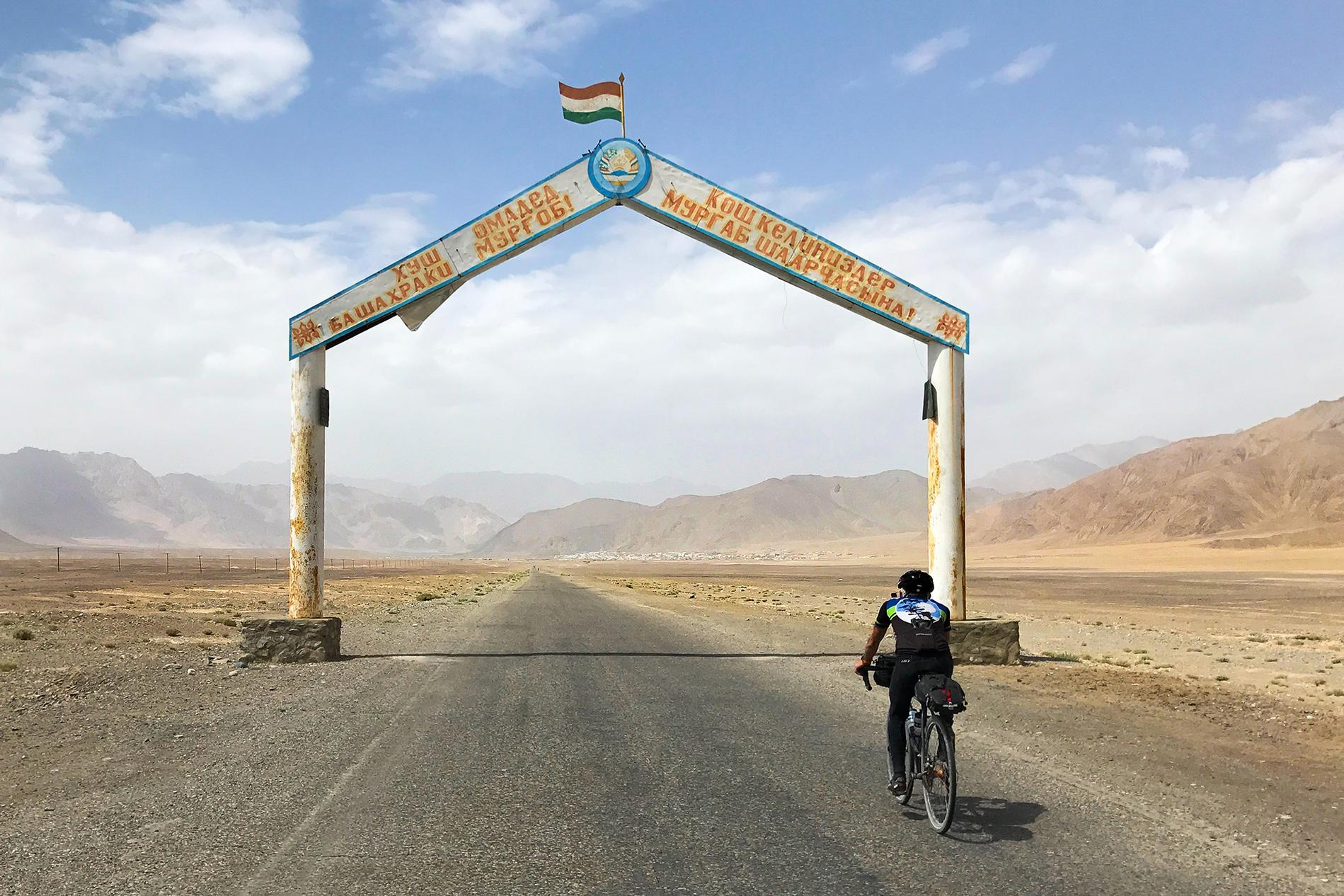 Riding through the Murghab city entrance gate. It was like a scene out of Star Wars.