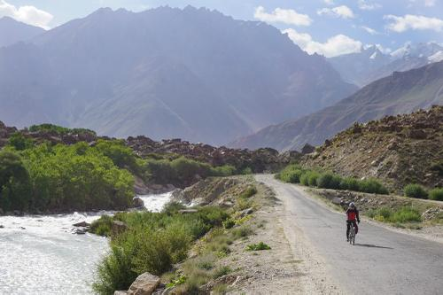 Riding down the Gunt River Valley towards Khorog.