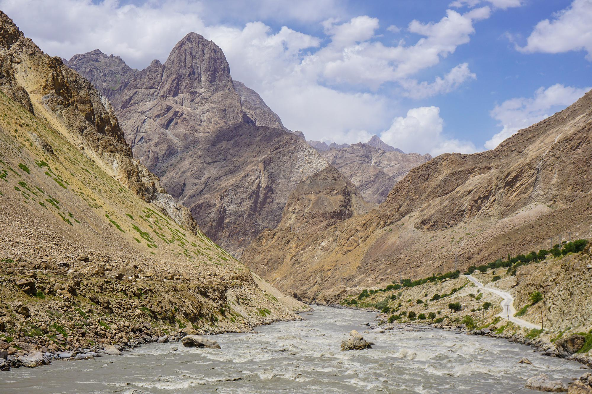 The mighty Panj River. On the left is Afghanistan. On the right is the Pamir Highway and our route through Tajikistan.