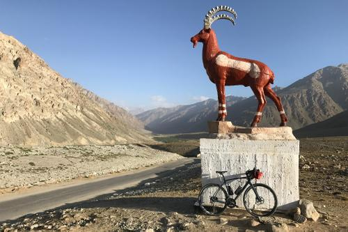 Marco Polo sheep statues are used to mark the top of passes.