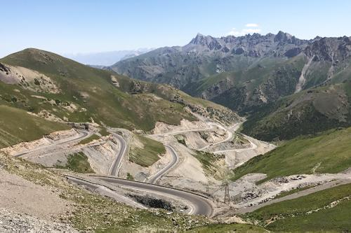 The switchbacks of Taldyk Pass at 3615 meters.