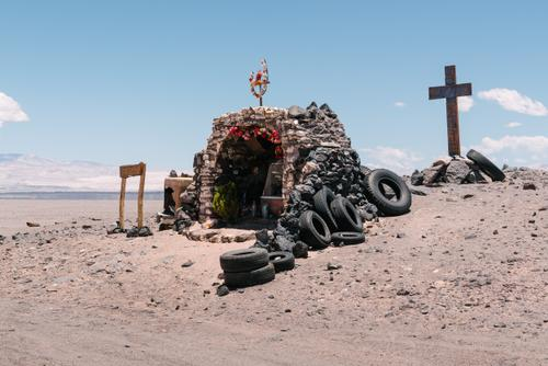 Roadside shrines make for a good place to hide from the sun.