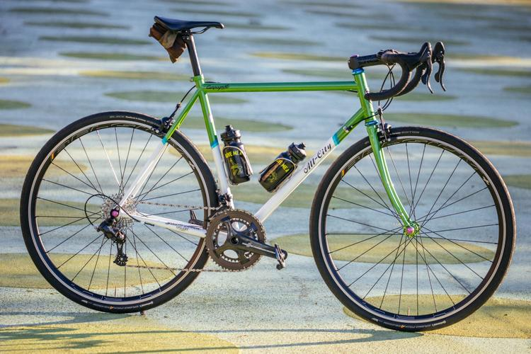 Golden Saddle Rides: Mike's All-City Kiwi Green Mr. Pink with Campagnolo Chorus