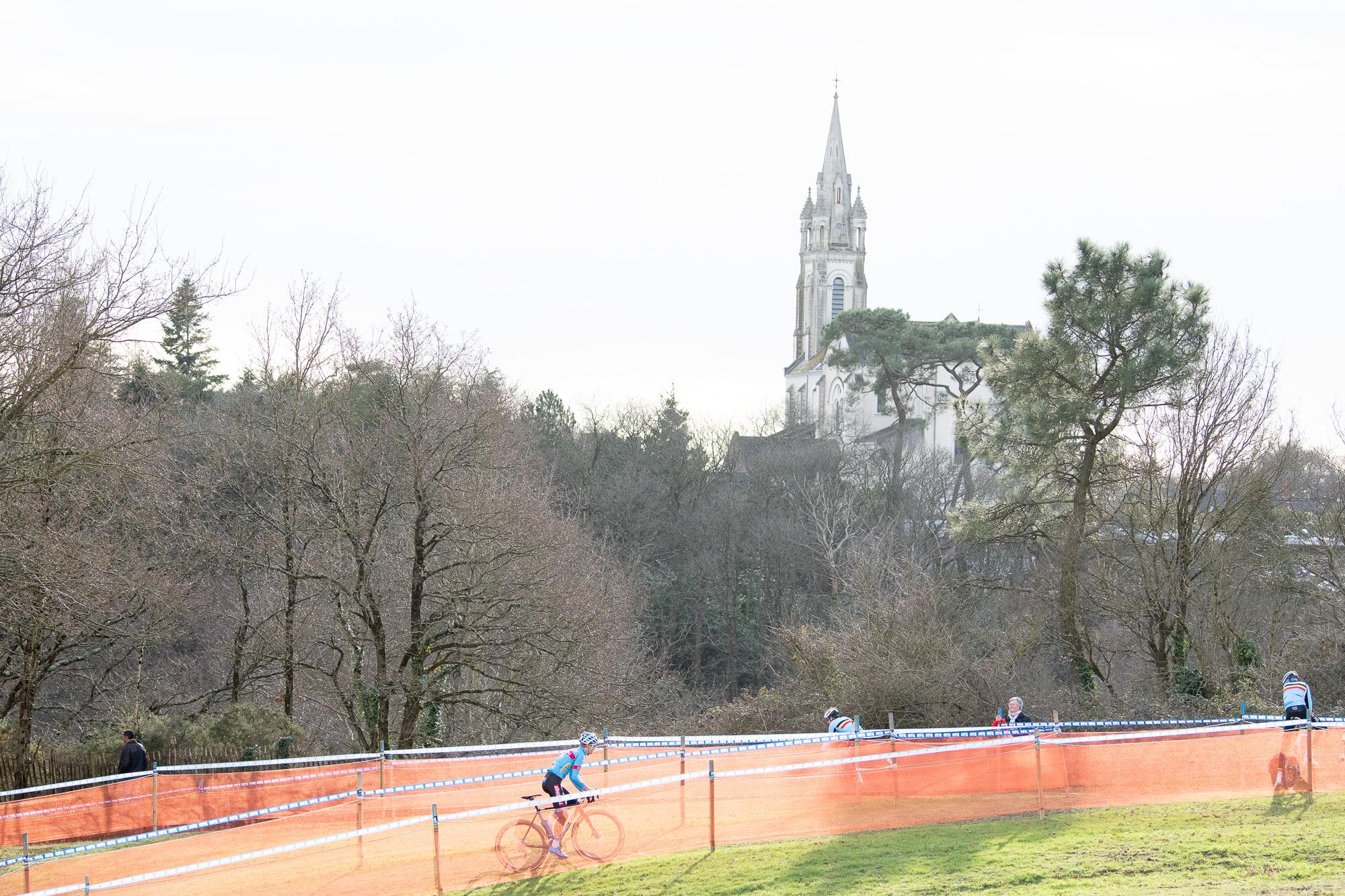 The Pontchateau church tower overlooking the circuit.