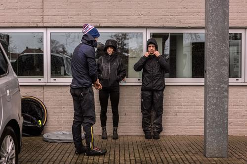 Pampered semi-professionals...Drew, Max and Marley staying warm.