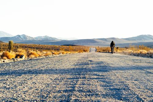 Long, freshly graded Mojave Byways...