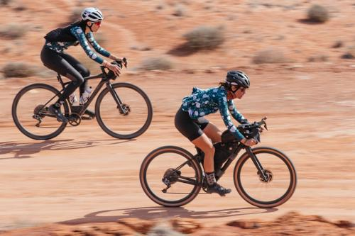 Ginger (above) is on a stock Diverge. Sarah (below) on her bike.