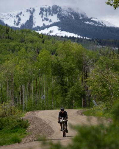 Steve Halligan descending into Clark, Colorado. (Rugile Kaladyte)