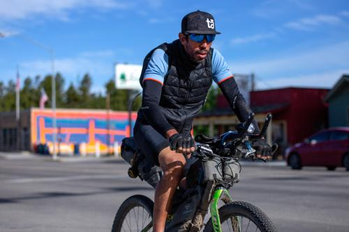 Sofiane Sehili passes through Pinedale, Wyoming. (Rugile Kaladyte)