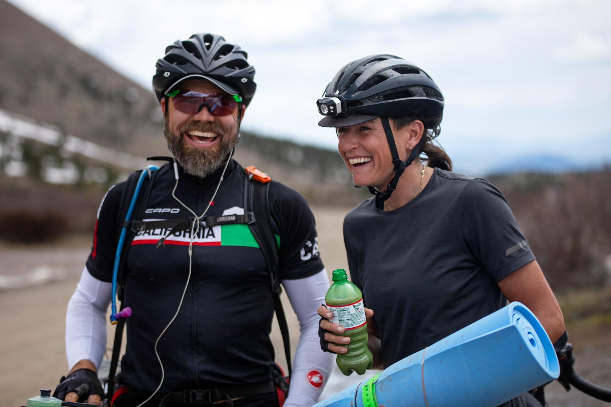 Chatting with a rider touring the route on Boreas Pass. (Rugile Kaladyte)