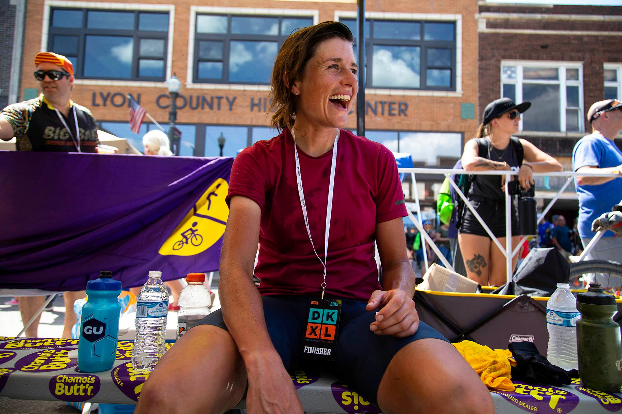 Lael Wilcox was the first female finisher and placed sixth overall in the DKXL with a time of 23:51:37. (Rugile Kaladyte)