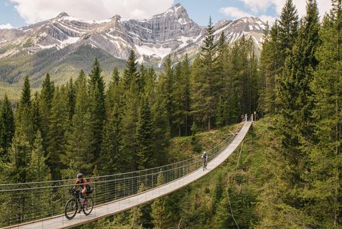 Lael Crossing the suspension bridge