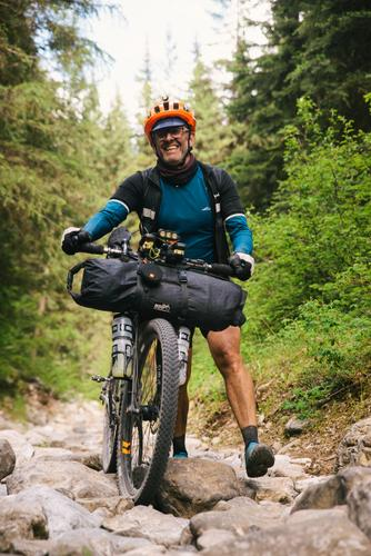 Ross Burrage hiking but still happy (Spencer Harding)