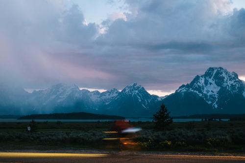 A storm rolling in over the Tetons on the evening of day 6