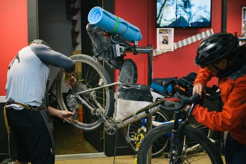 Getting her bike all tuned up (Spencer Harding)