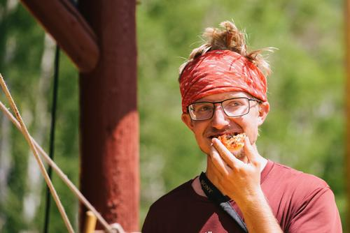 Reid enjoying the endless pizza at Brush Mountain Lodge (Spencer Harding)