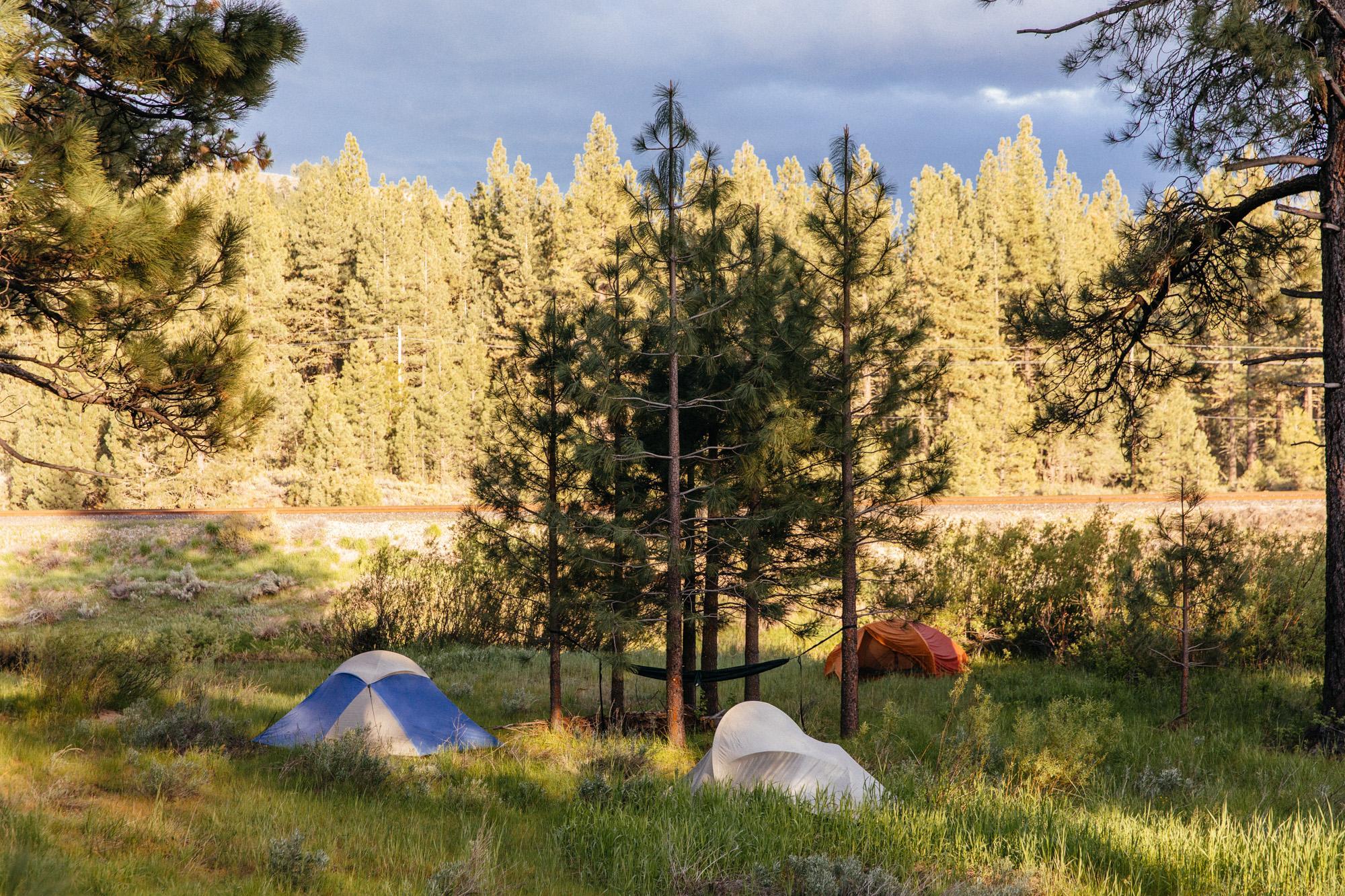 Camping hard.