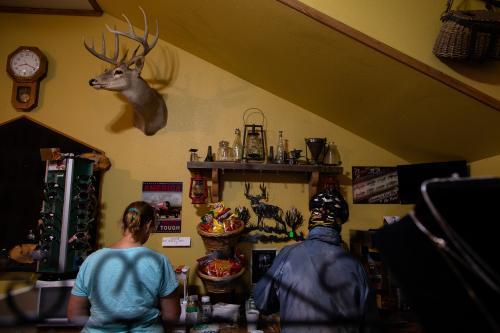 Kai Edel refuels in Ovando, Montana.(Rugile Kaladyte)