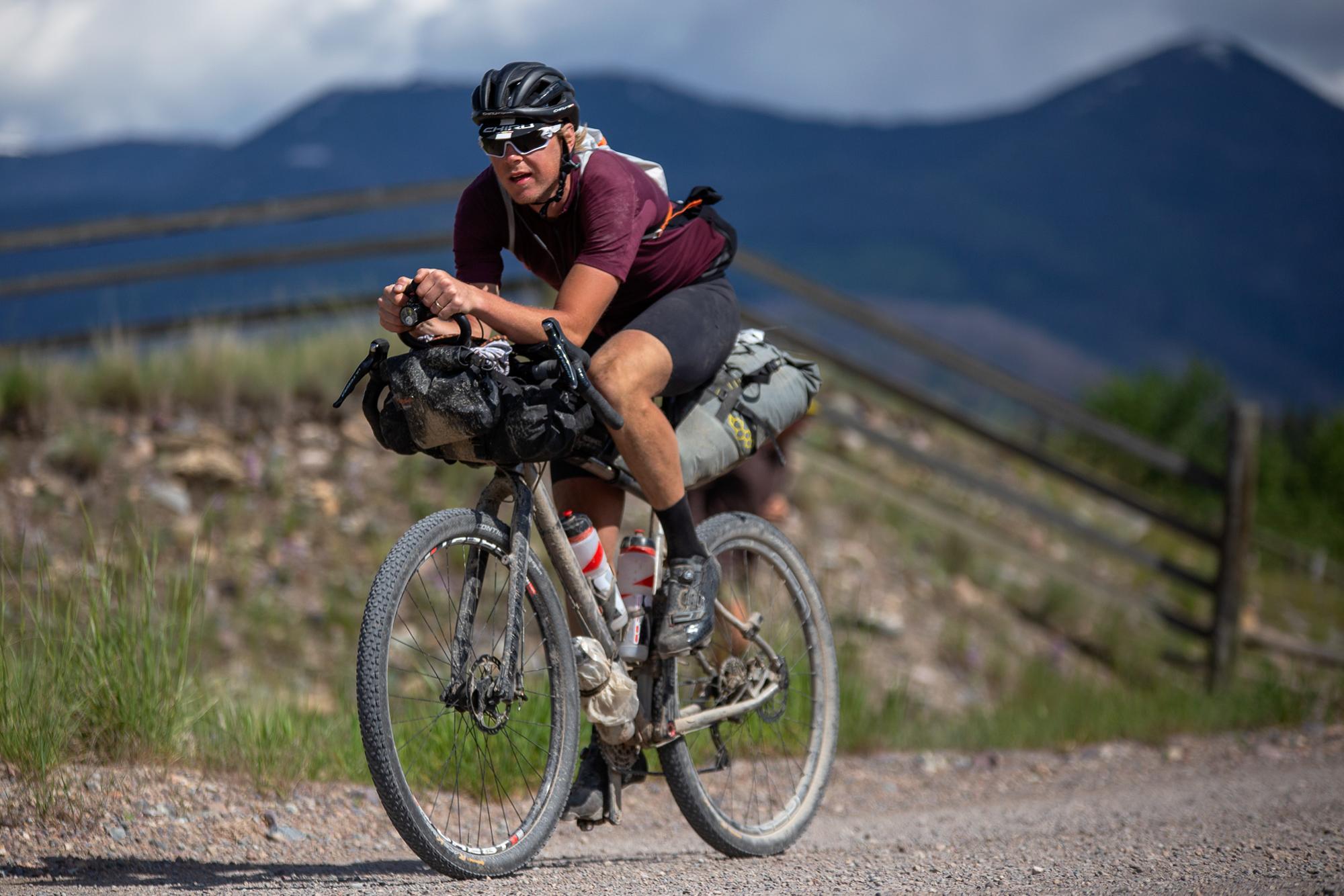 Kim Raeymaekers approaching Lincoln, Montana. (Rugile Kaladyte)