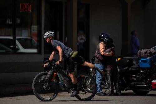 Dylan Morton resupplies in Lincoln, Montana. (Rugile Kaladyte)