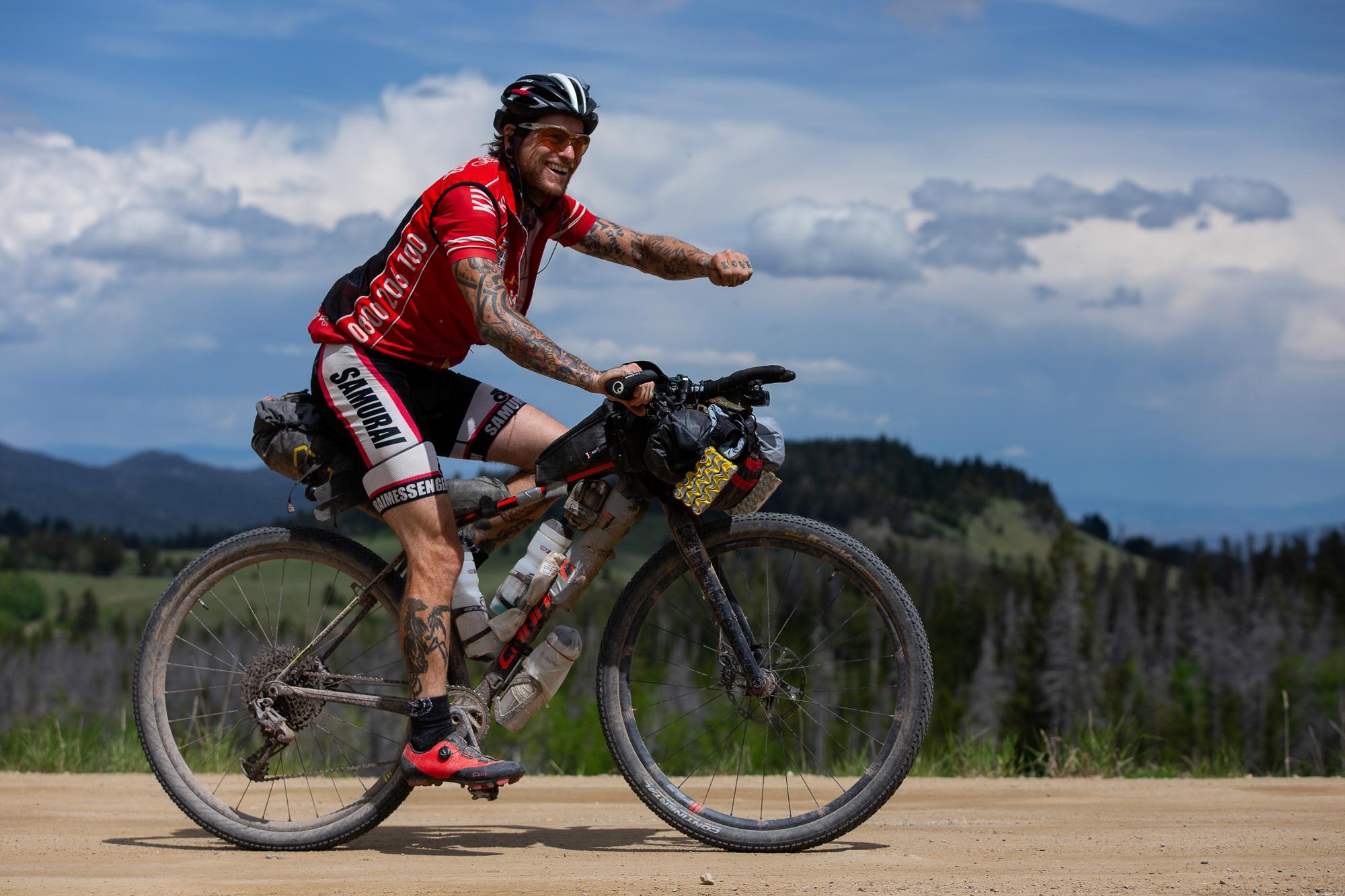 Kai Edel climbs Corral Gulch Road. (Rugile Kaladyte)