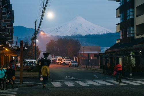 Volcan Villarrica looming over the streets of Pucón