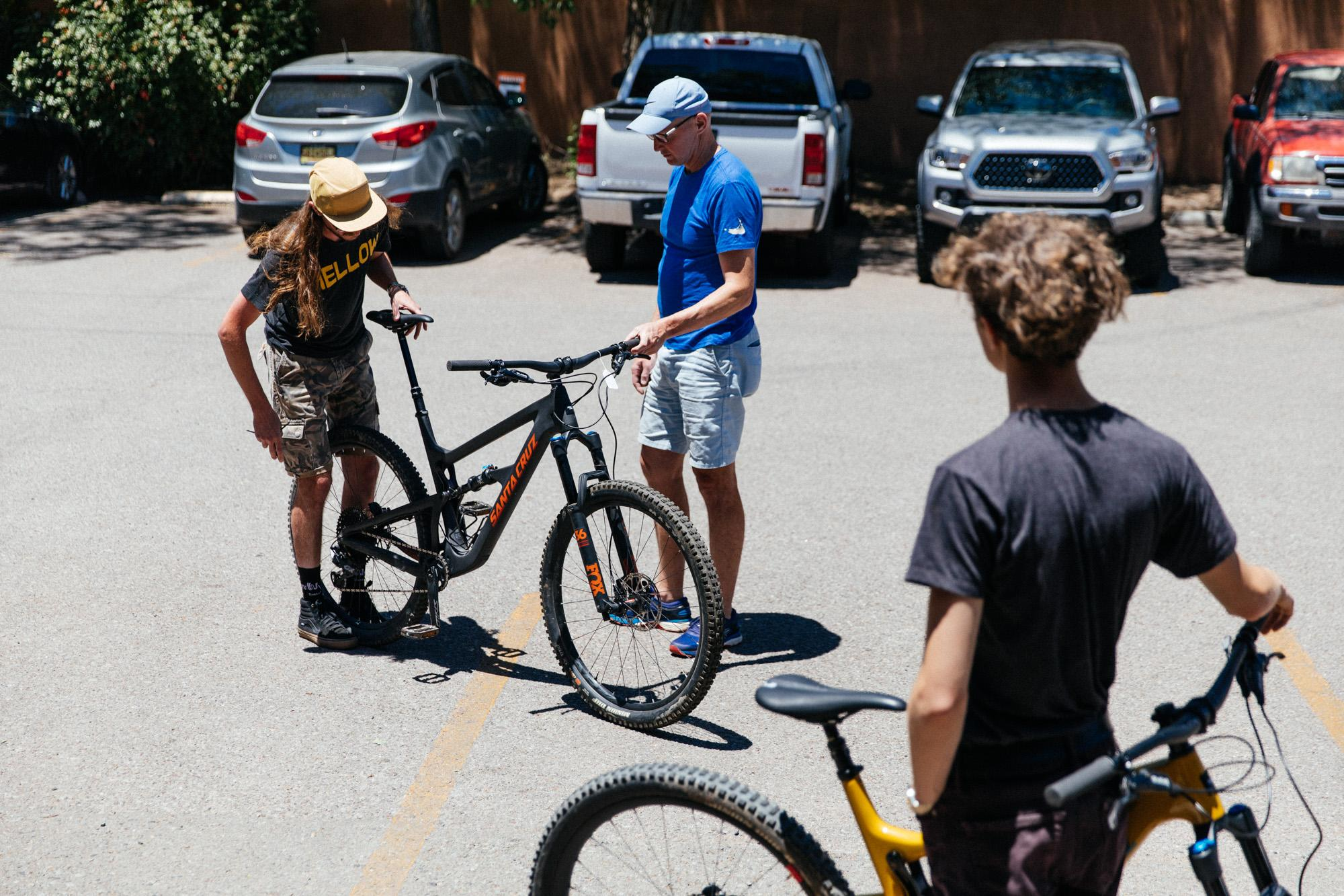 Customer trying out some Santa Cruz bikes.