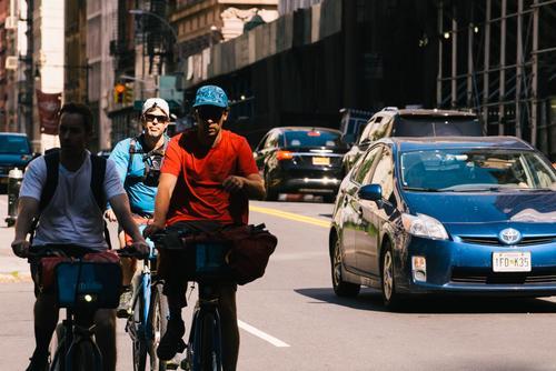 Riding through the finincial district