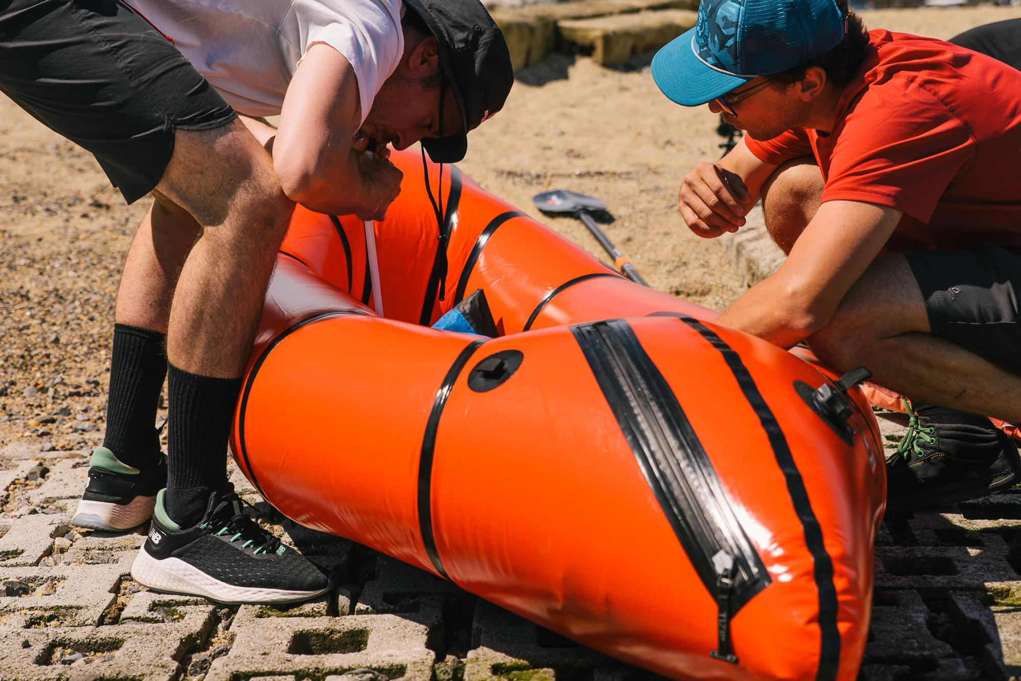Inflating the rafts