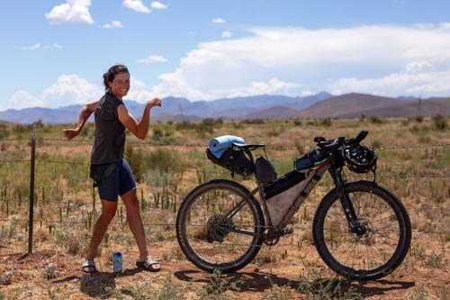 Lael's finish of her Tour Divide race turned tour.(Rugile Kaladyte)