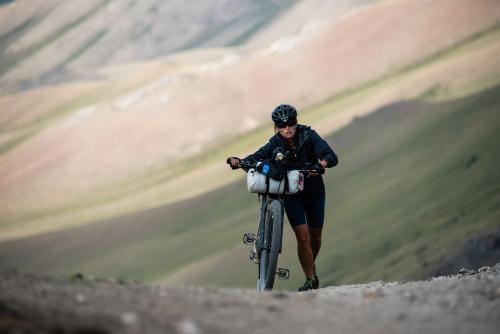 Lael Wilcox climbing towards CP1