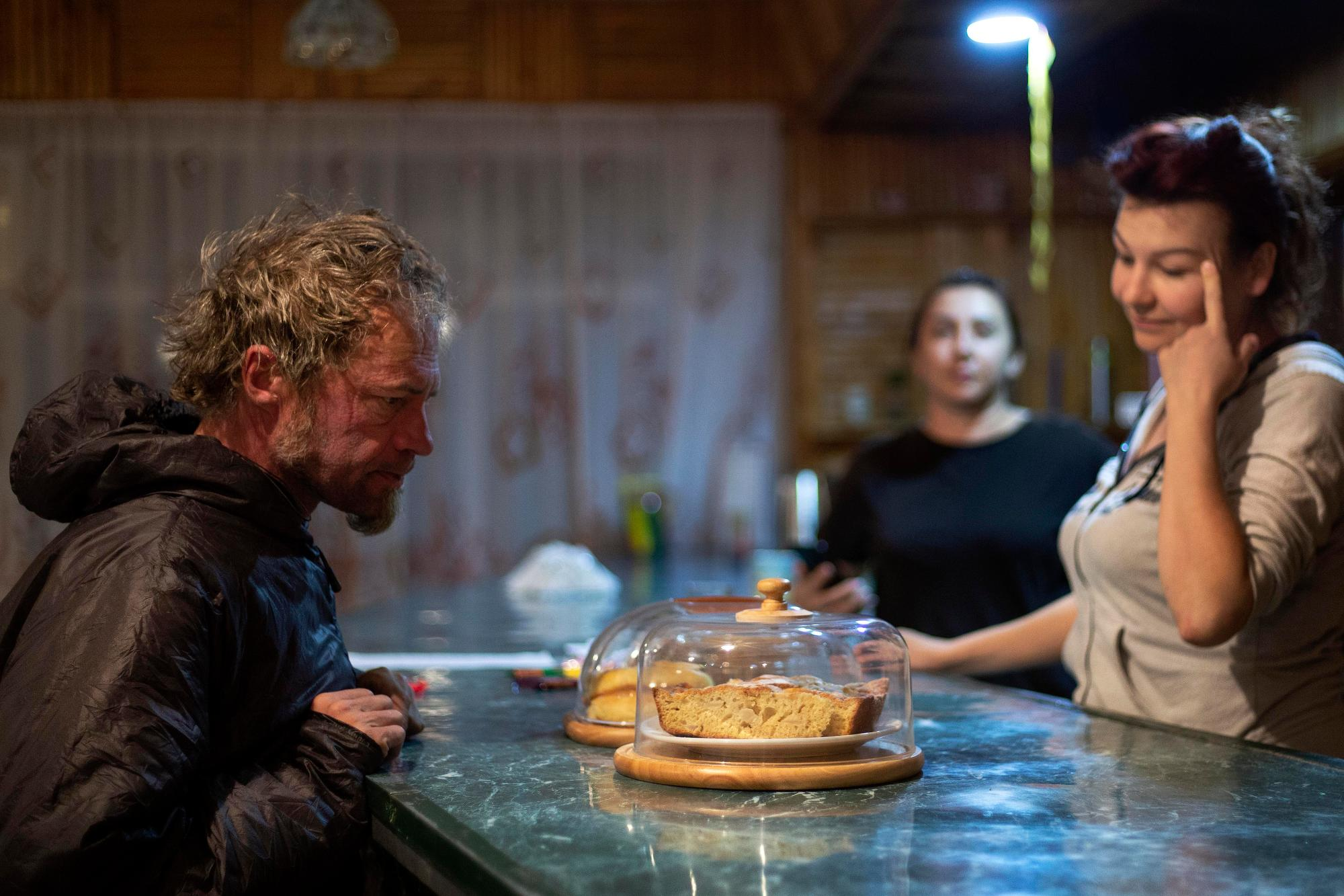 Jay Petervary eyes baked goods at checkpoint three. (Rugile Kaladyte)
