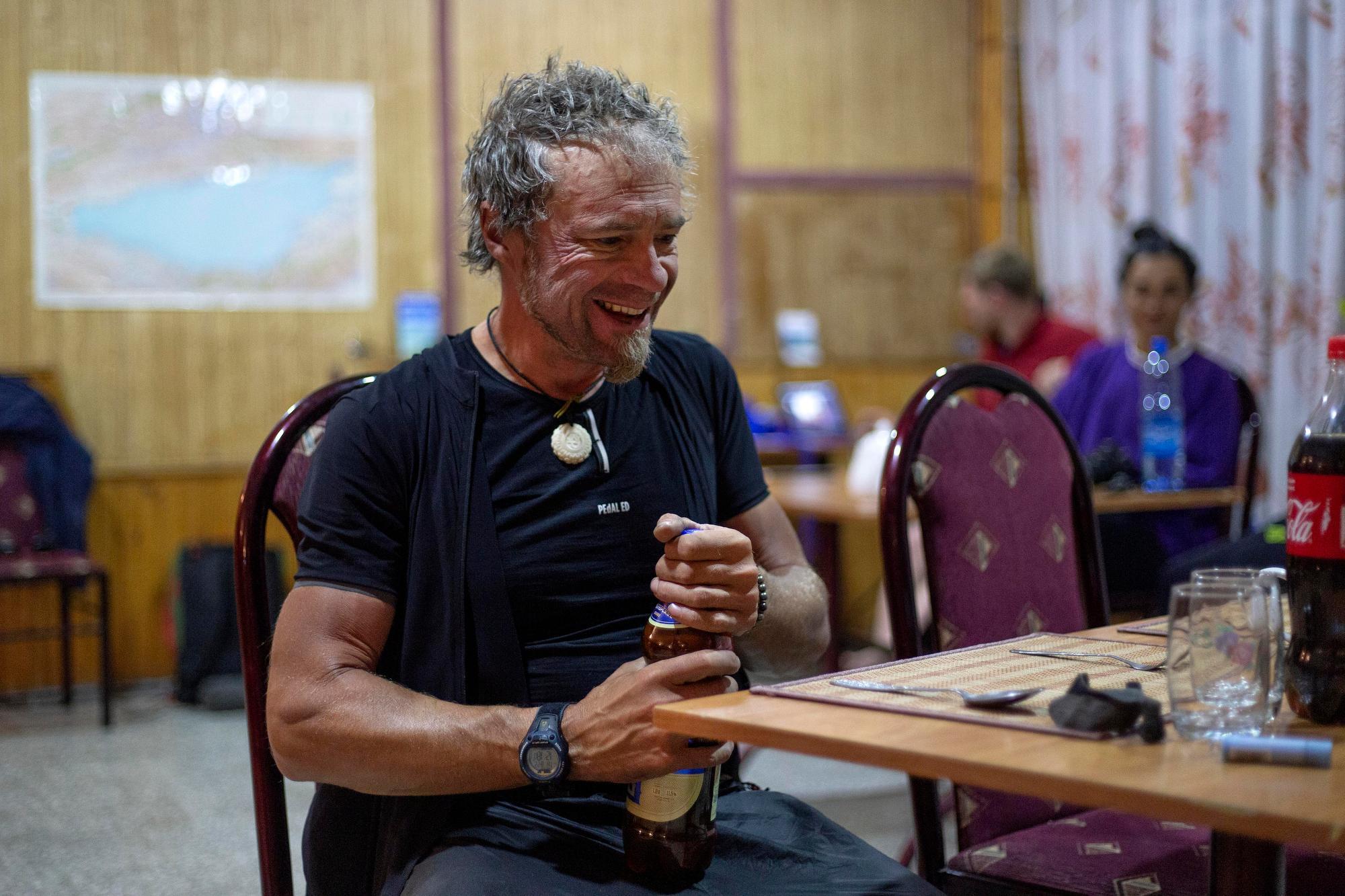Jay Petevary has dinner at checkpoint three. (Rugile Kaladyte)