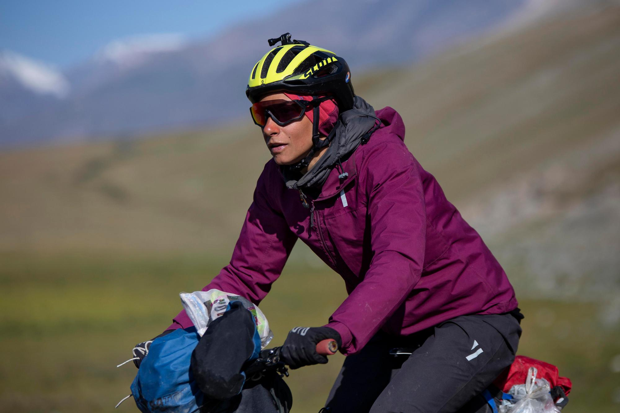 Sue Paz Thunstrom rides towards checkpoint three. (Rugile Kaladyte)