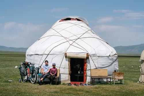Stopping at a yurt for breakfast